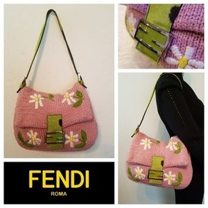 Girly Pink $1395 FENDI Crochet Mama Baguette Bag